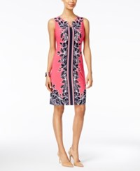 Jm Collection Floral Print Sheath Dress Only At Macy's Pink Tropical Foliage
