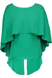 Halston Heritage Embellished Draped Washed Crepe De Chine Blouse Green