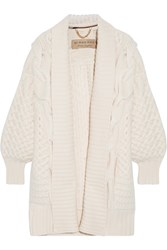 Burberry Cable Knit Wool And Cashmere Blend Cardigan Ivory