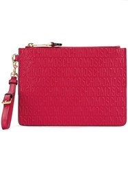 Moschino Logo Embossed Clutch Red