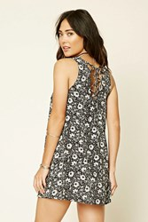Forever 21 Lace Up Floral Swing Dress