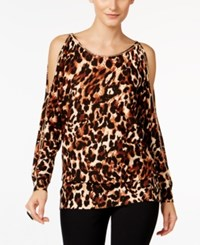 Thalia Sodi Animal Print Cold Shoulder Sweater Only At Macy's Iconic Cheetah