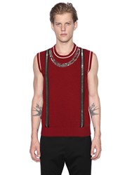 Dsquared Necklace And Suspenders Effect Wool Vest