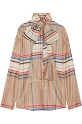 Suno Pussy Bow Checked Wool And Silk Blend Blouse Beige