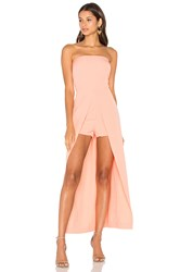 Lavish Alice Bandeau Maxi Overlay Playsuit Peach
