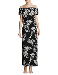Design Lab Lord And Taylor Off The Shoulder Floral Maxi Dress Black White