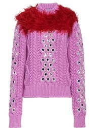 Prada Cordonnet Yarn Sweater With Decorations Pink