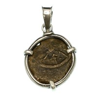 Ancient Treasures Pendant With Ancient Widow's Mite Coin Silver