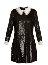 Ashish Wednesday Sequin Embellished Silk Dress Black White