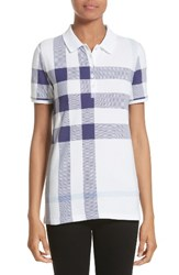 Burberry Women's Isna Check Stretch Cotton Pique Polo Pale Blue