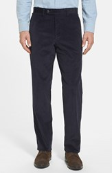 Men's Jb Britches Flat Front Corduroy Trousers Navy