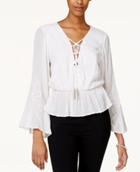 Xoxo Juniors' Embroidered Lace Up Peasant Blouse White
