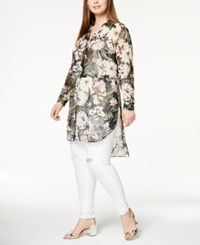 Inc International Concepts Plus Size Sheer High Low Tunic Created For Macy's Olive Drab