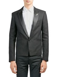 Saint Laurent Cropped Tuxedo Jacket Black