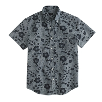 J.Crew Short Sleeve Japanese Chambray Popover In Indigo Floral