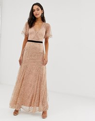 Forever Unique Lace Maxi Dress With Flutter Sleeves Pink