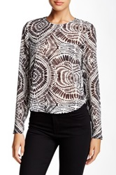 L.A.M.B. Printed Long Sleeve Cropped Blouse Multi