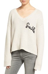 Wildfox Couture Women's Smile Embroidered V Neck Sweater