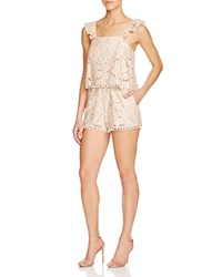 Tularosa Flower Embroidered Romper Pale Blush