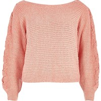 River Island Womens Petite Orange Ribbed Knit Cross Sleeve Jumper