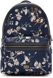 Dolce And Gabbana Navy Nylon Floral Backpack
