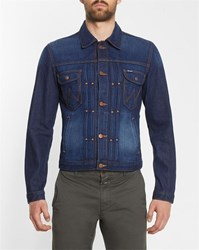 Wrangler Raw Denim Modern Jacket With Embroidered Back Blue