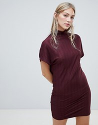 Native Youth High Neck Plisse Shift Dress Red