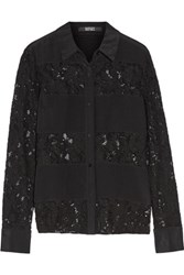 Badgley Mischka Paneled Lace And Silk Shirt Black