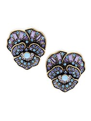 Heidi Daus Crystal Flower Stud Earrings No Color