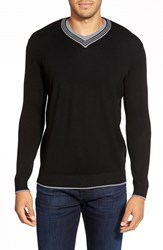 Men's Bugatchi Contrast Trim V Neck Sweater Black