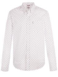 Ben Sherman Men's Long Sleeve Classic Polka Dot Shirt White