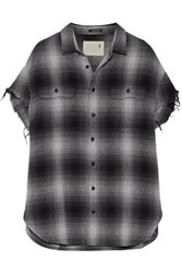 R 13 R13 Oversized Frayed Checked Cotton And Silk Blend Shirt Gray