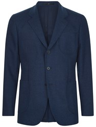 Jaeger Wool Cotton Slim Jacket Indigo