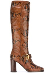 Car Shoe Python Print Knee High Boots Brown