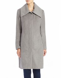 Cole Haan Signature Oversized Collar Wool Blend Coat Grey