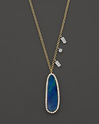 Meira T 14K Yellow Gold Oval Blue Opal Necklace With Diamonds 16 Yellow White