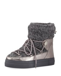 Moncler Ynnaf Wool And Leather Snow Boot Silver