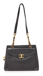 Wgaca Chanel Small Tote Previously Owned Black