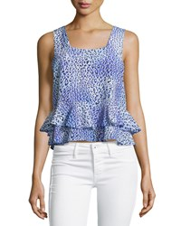 Rebecca Taylor Leopard Fever Ruffled Tank Blue Crush