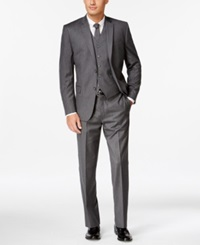 Andrew Marc New York Andrew Marc Grey Pinstripe Flannel Slim Fit Vested Suit