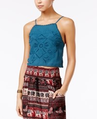 American Rag Eyelet Strappy Back Crop Top Only At Macy's Deep Teal