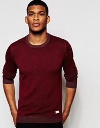 Blend Of America Blend Crew Jumper Slim Fit Two Tone Knit Red