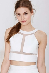 Nasty Gal Jennifer Kate Carved Out Leather Crop Top