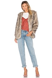 Lovers Friends Adora Faux Fur Jacket Gray