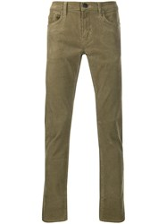 J Brand Slim Fit Textured Trousers Green
