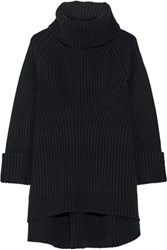 Co Ribbed Wool And Cashmere Blend Turtleneck Sweater Black