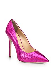 Giuseppe Zanotti Snakeskin Embossed Metallic Leather Point Toe Pumps Fuschia