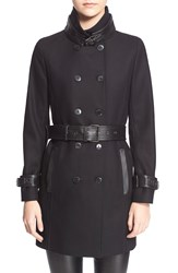 The Kooples Leather Trim Wool Blend Coat Black