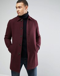 Asos Wool Mix Trench Coat In Burgundy Burgundy Red