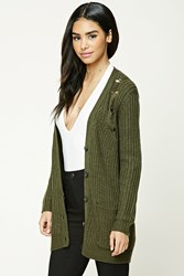 Forever 21 Distressed Button Down Cardigan